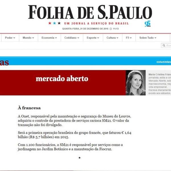 Versão online da Folha de SP
